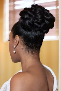 Black updo Wavy Pin Curls