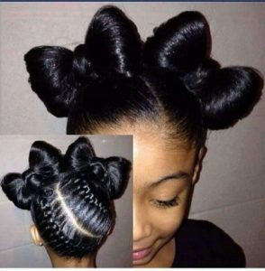Braided Ribbon Buns Hairstyle