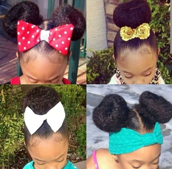 Adding A Huge Bow Or Ribbon Headbands To Simple Updo Bun Is An Instant Hairstyle For Your Little One Girls Adore Ribbons Clips
