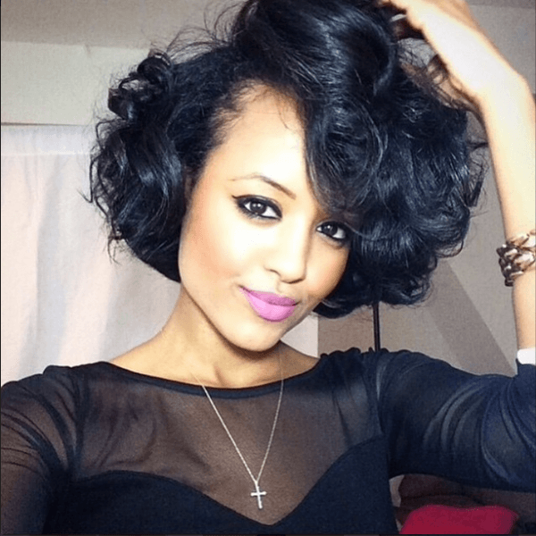 Bob Hairstyles For Black Women cute bob haircut for black women 1curly Black Bob What Could Illustrate Sexy Than Flowing Curls This Hairstyle Does Not Only Incorporate Ladylikeness To A Short Do But They Also Showcase