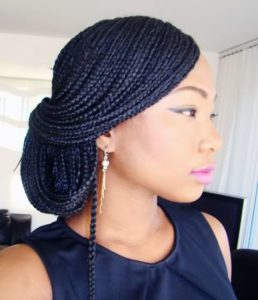 Side Swept Low Box Braids