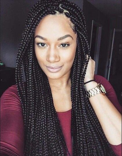 This May Be The Simplest Style Of Box Braids But Could Also Most Beautiful If It Suits Your Taste No Fuss Simply Straight Braid Is A