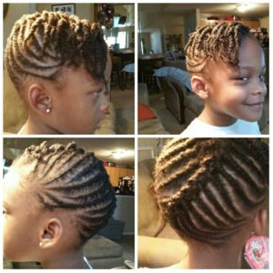Updo Cornrow Style with Twisted Bangs