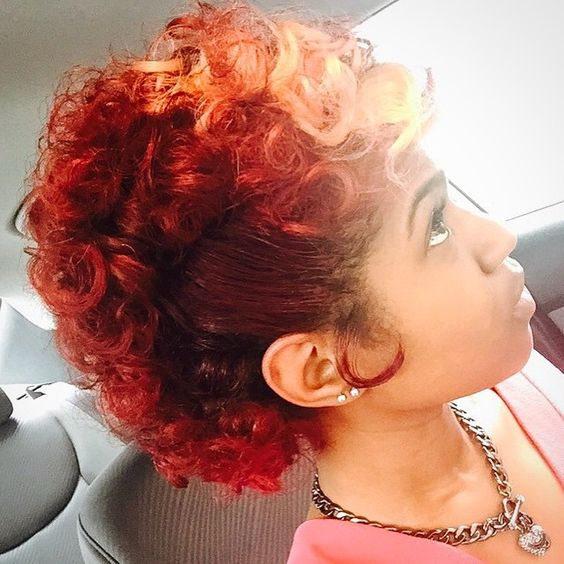11Fiery Red Curly Mohawk