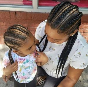 Like Mother Daughter Get Matching Hairstyles With Your Little Princess We Love These Straight Back Cornrows That Alternate In Size