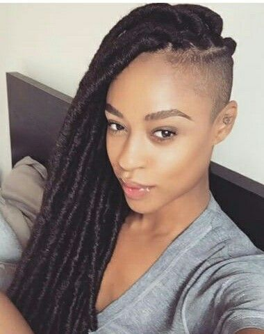 Green Box Braids On Dark