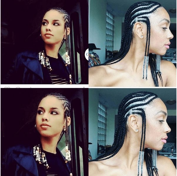 Alicia Keys Helped Popularize This Style In The Early 2000s Cornrows Are Braided Alternating Directions And Beads Added To Ends Of Hair For