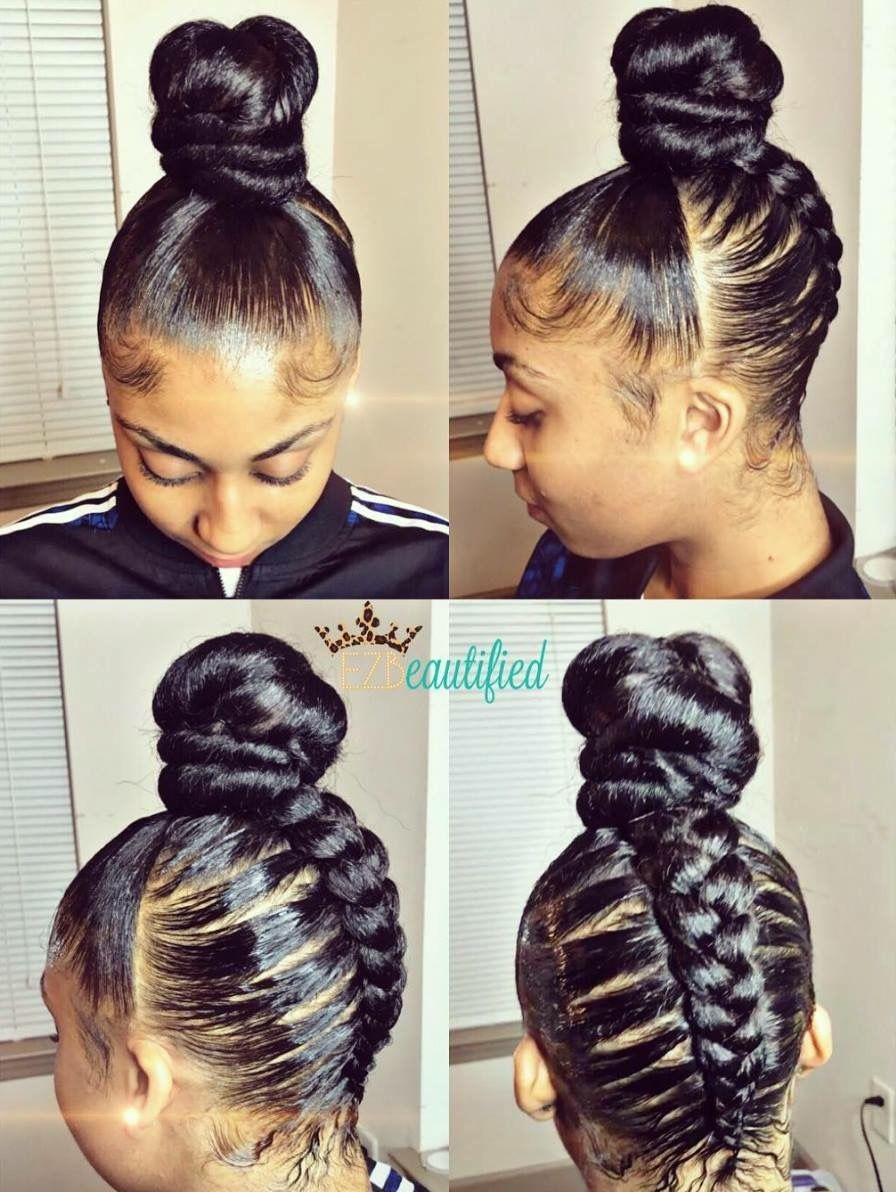 At First Glance This Style Appears To Be A Simple Top Knot But Single Thick Cornrow Is Braided Up The Back Of Head Meet Rest Hair