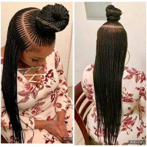 micro cornrows with topknot