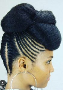 flat twist cornrow updo