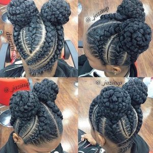feed in braids with double buns