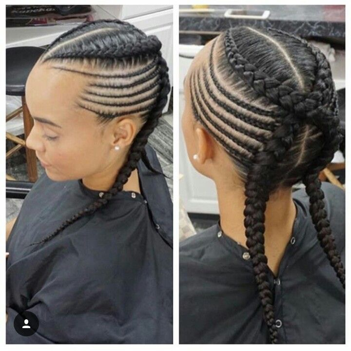 14criss Cross Feed In Cornrows With Braided Sides