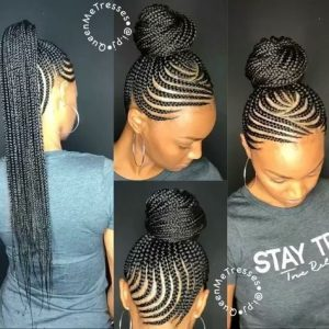 feed in cornrow ponytail bun