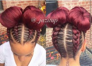 red feed in cornrows with double buns