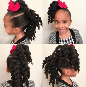Twist Out Ponytails With Bow