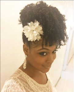 flowered curly fro hawk