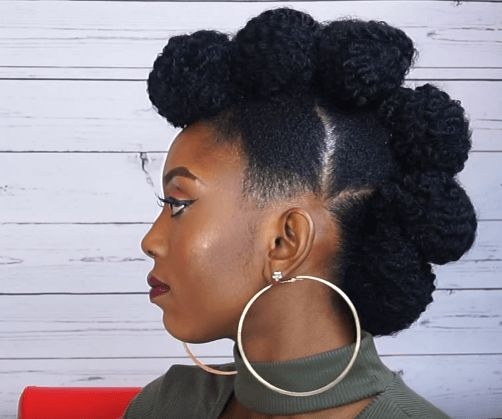 Natural styles 35 natural updo hairstyles for any occasion 5frohawk buns updo urmus Images