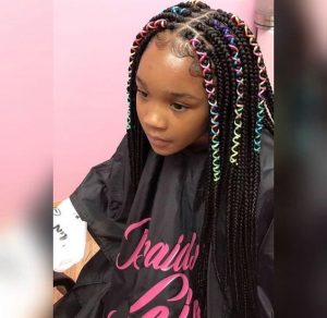 Box Braids With Colored Cord