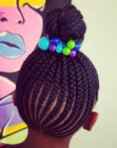 Cornrowed High Bun With Bubbles