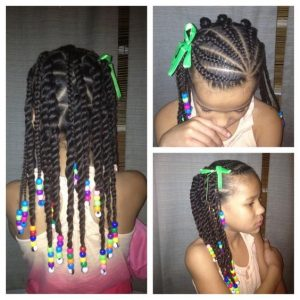 Cornrows With Twists And Beads