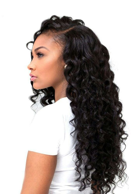 5Long Curly Sew-In With Side Part