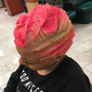 pink finger waves