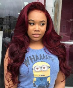 red waves sew in side part
