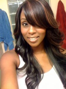 swoop bang with highlights