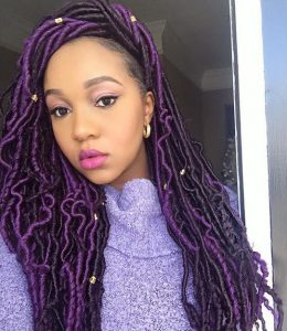 Black And Purple Goddess Locs