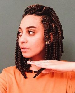 Half Pulled Back Two-Toned Box Braids