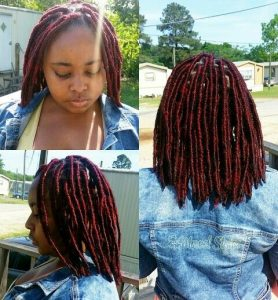 Short Red Faux Locs