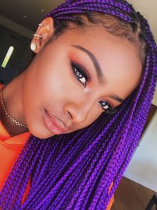 bright purple box braids