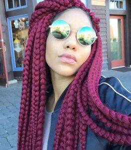 burgundy dookie braids