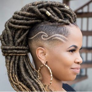 goddess locs with shaved design