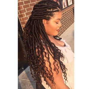 half pinned back goddess locs