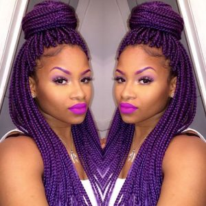 half up half down purple braids