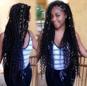 hip length goddess locs