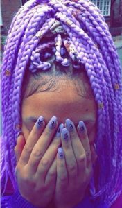 lavender box braids high ponytail