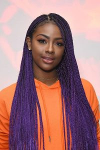 long thin purple box braids