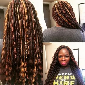 multi colored goddess locs