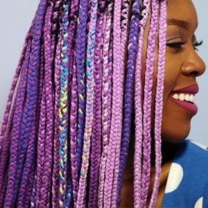 multicolored purple yarn braids