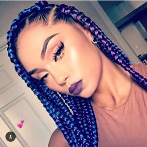 purple and blue jumbo box braids