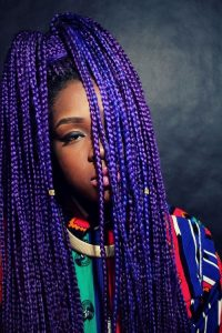 purple and indigo box braids