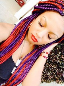 purple and red box braids