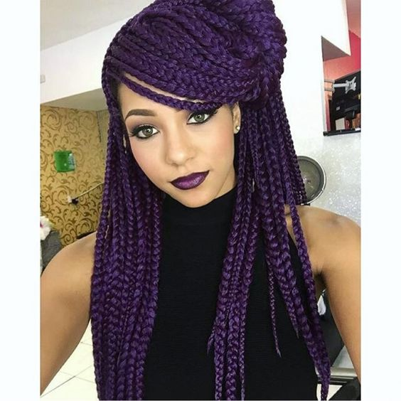 purple box braids with swoop bangs