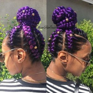 purple cornrowed high bun