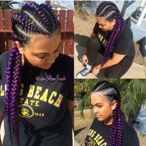 purple feed in braids