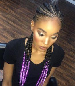 purple ombre ghana braids