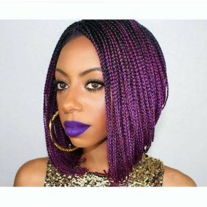 purple stacked braided bob