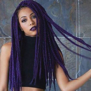 waist length purple braids